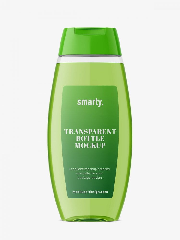 transparent plastic bottle mockup