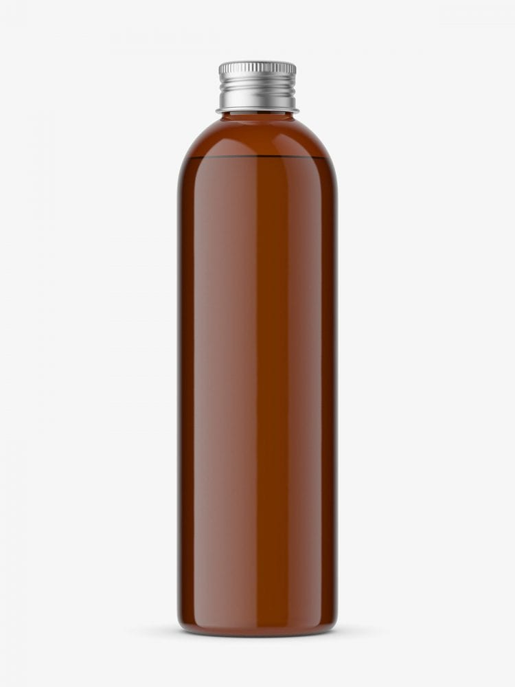 bottle with silver cap mockup