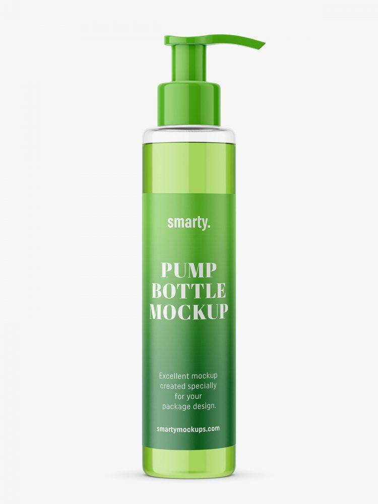 Transparent bottle with pump mockup