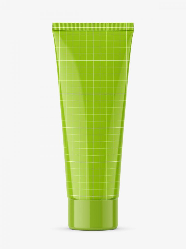 Glossy tube mockup with screw cap / fi 35 / 120 mm