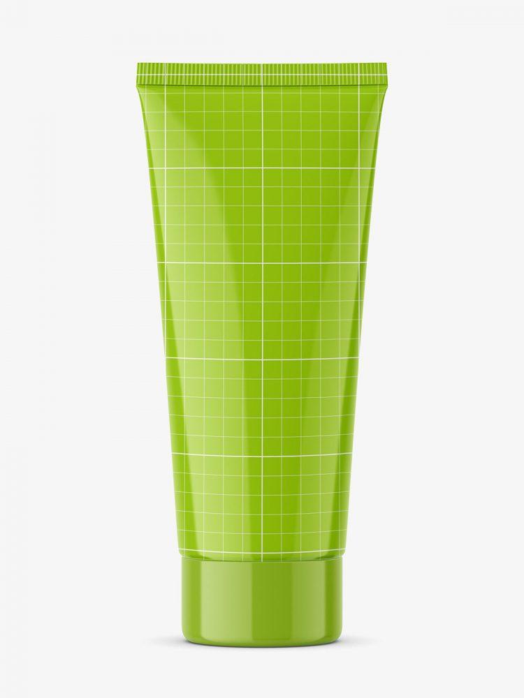 Glossy tube mockup with screw cap / fi 40 / 120 mm