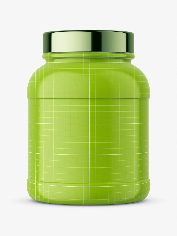 Nutrition jar with silver cap mockup - glossy