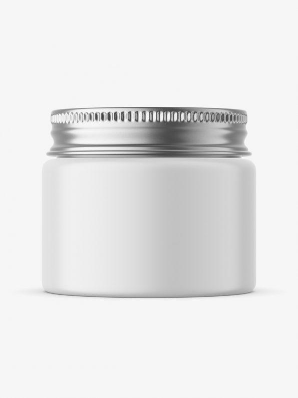 Silver lid glossy jar