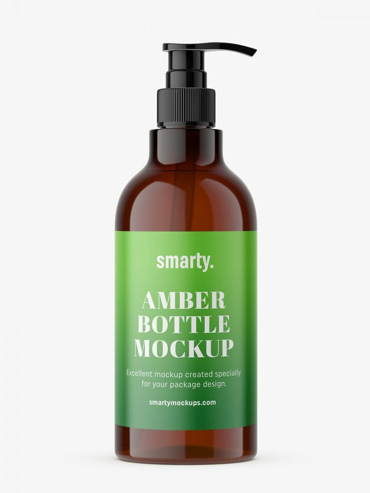 Amber dispenser bottle mockup