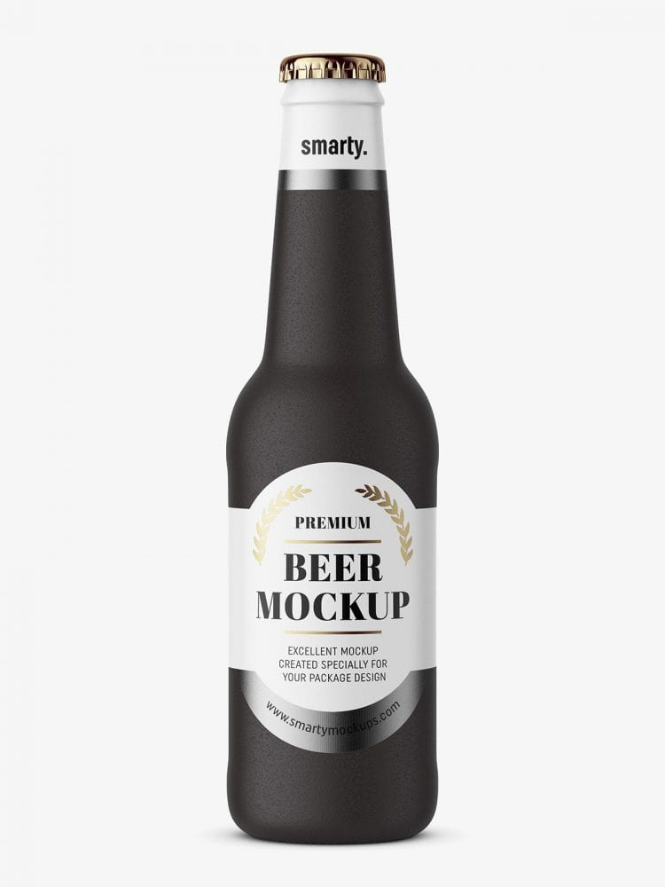 Beer bottle mockup / black ceramic