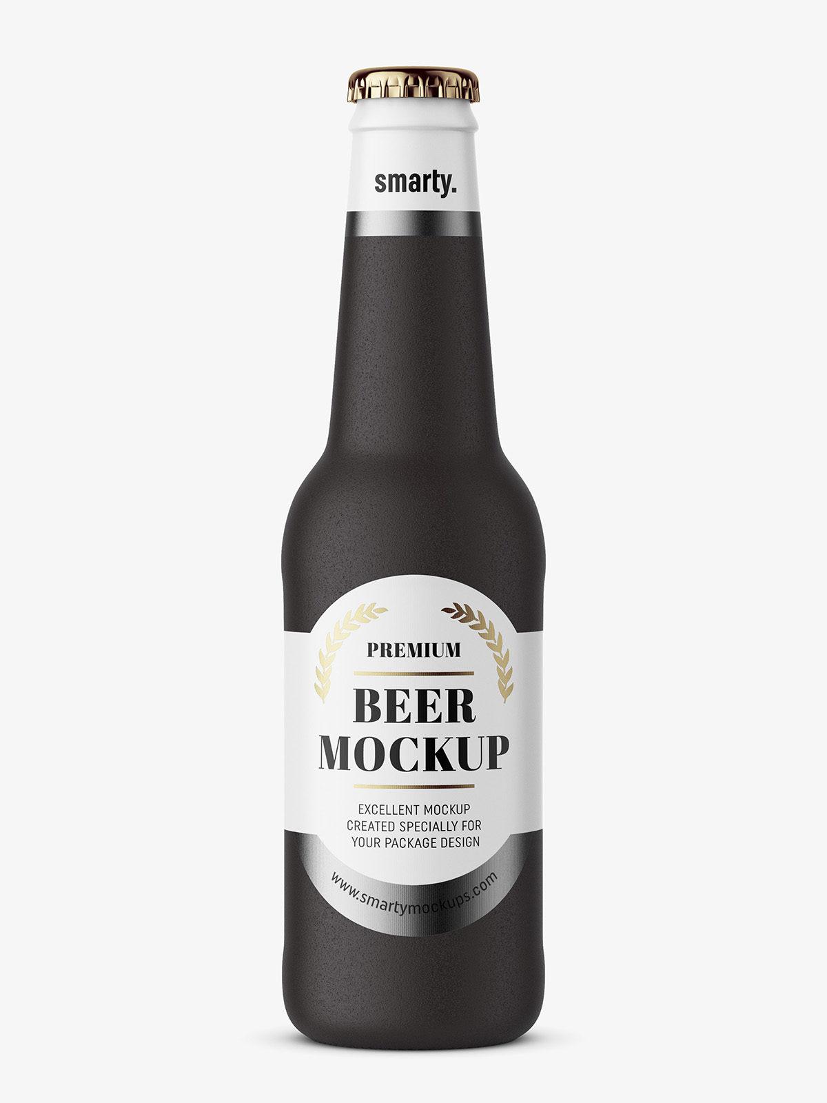 Beer Bottle Mockup Black Ceramic Smarty Mockups