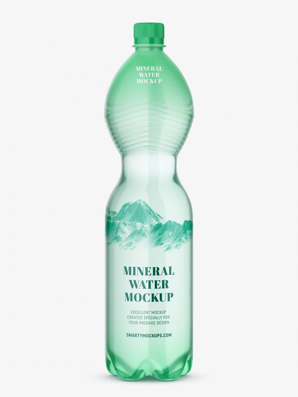 Mineral water bottle mockup / green