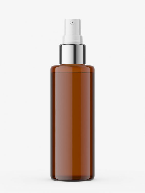 Atomizer bottle with silver top / amber