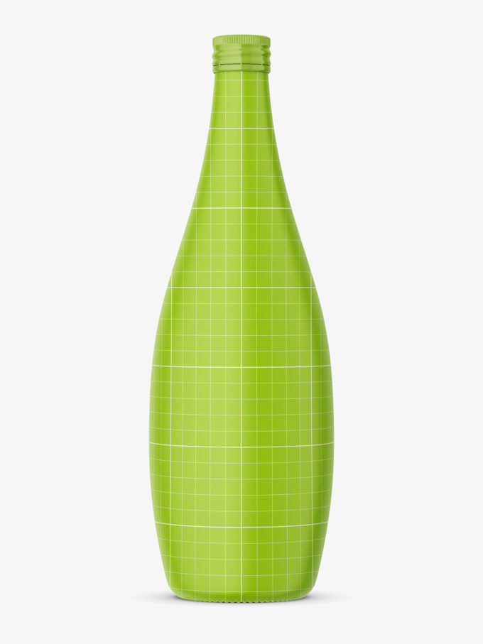 Green glass bottle with mineral water mockup