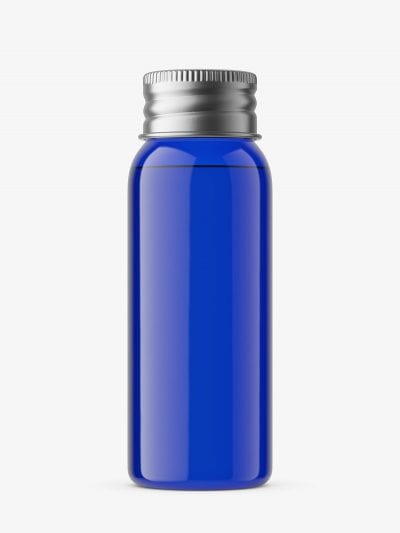 30 ml bottle with silver cap mockup / cobalt