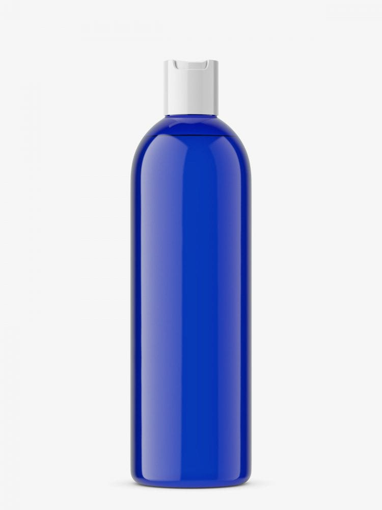 Bottle with disc top mockup / cobalt