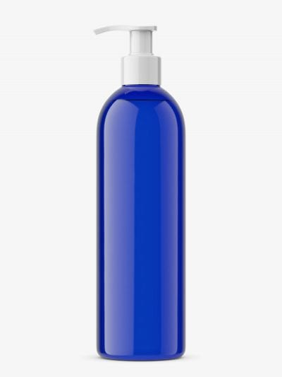 Bottle with pump mockup / cobalt
