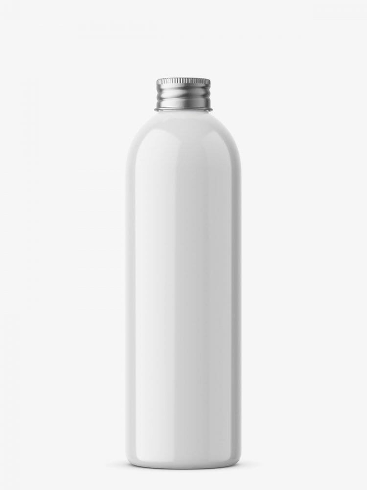 Bottle with silver cap mockup / white