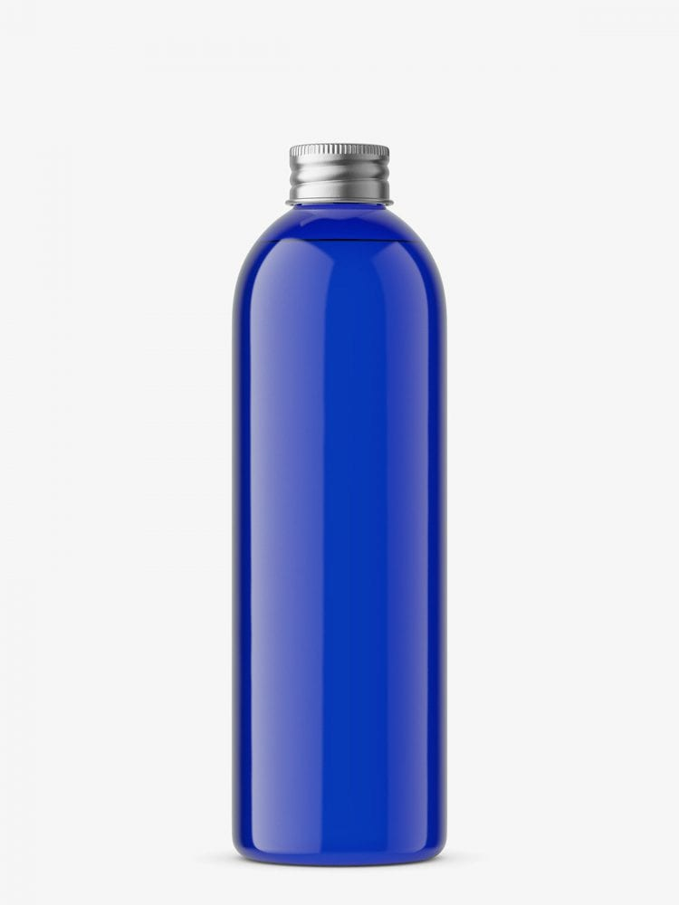 Bottle with silver cap mockup / cobalt