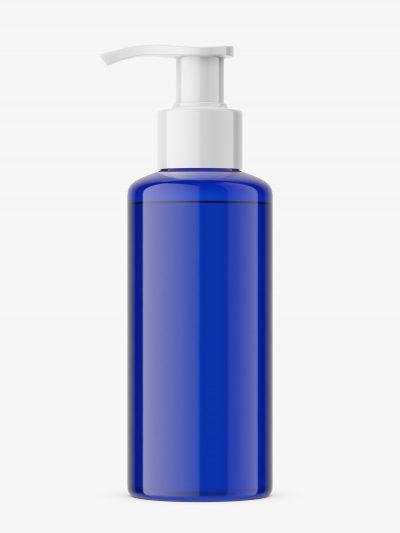 Cobalt bottle with pump mockup