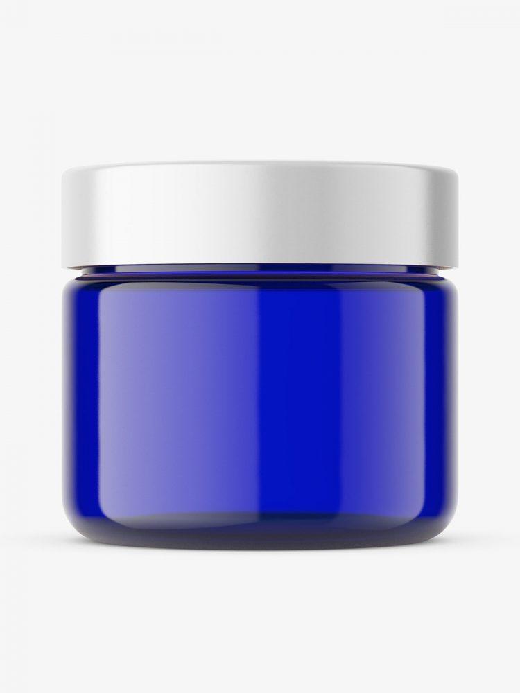 Cobalt glass jar mockup