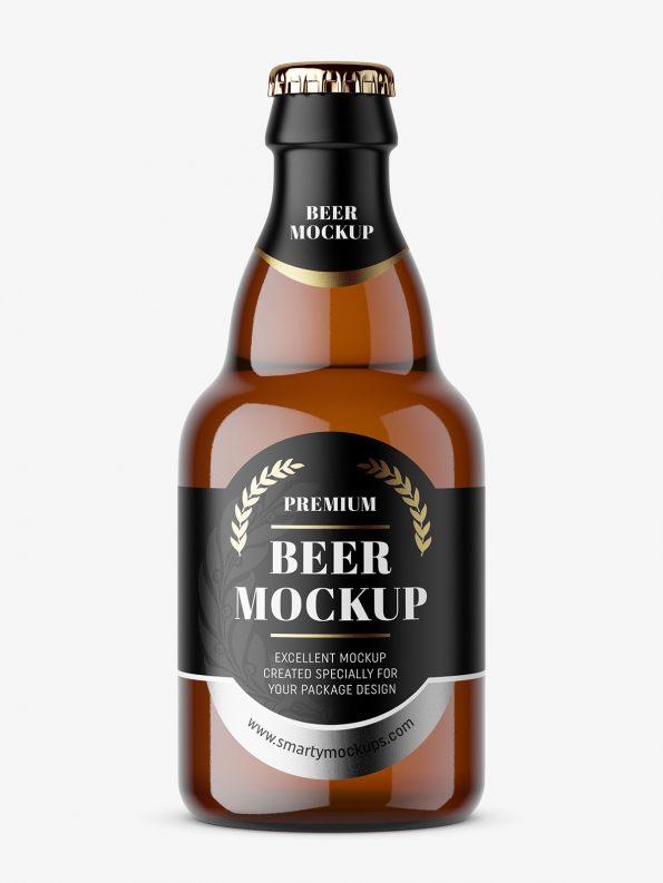 Small beer bottle mockup