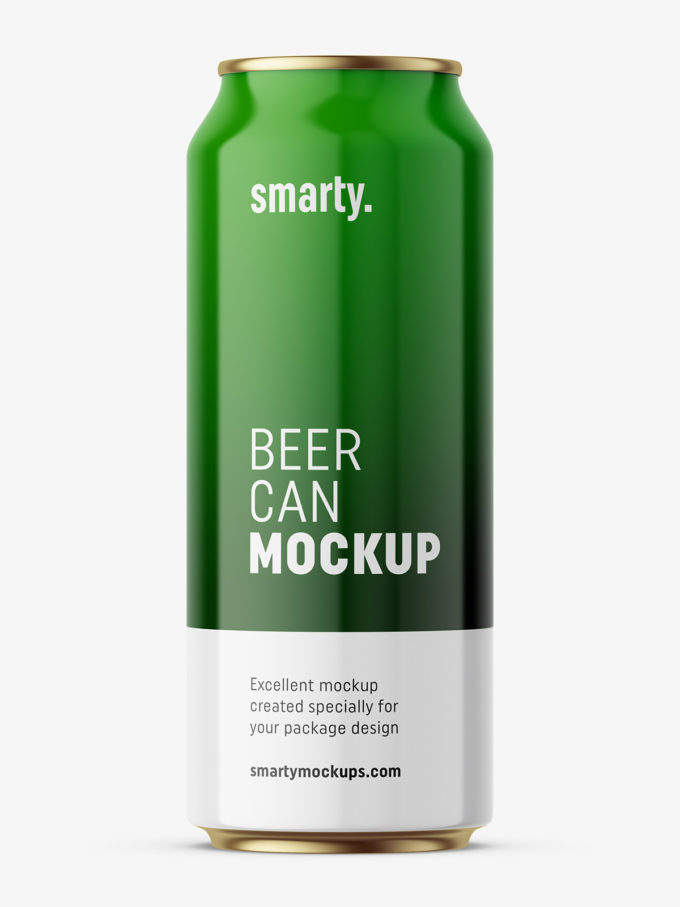 Glossy beer can mockup
