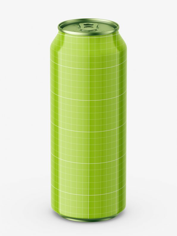 Glossy beer can mockup