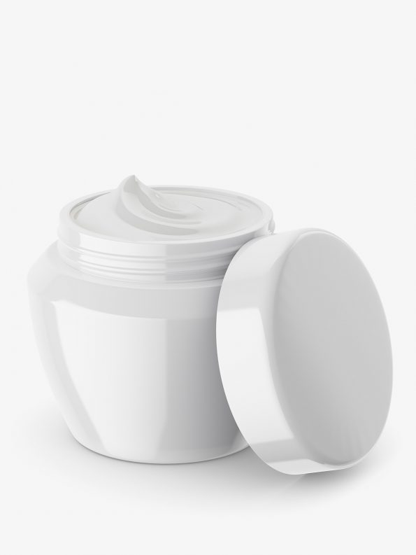 Beauty jar mockup / half opened