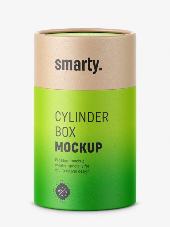 Cylinder cardboard box mockup