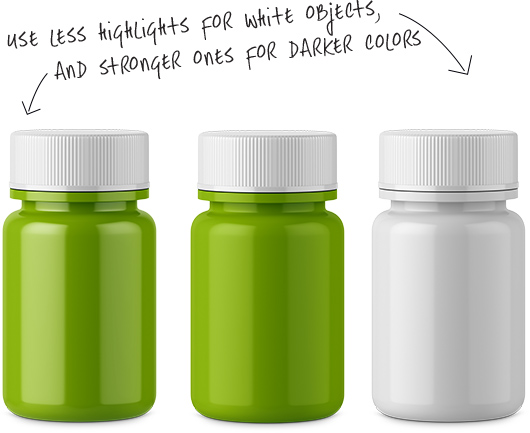 Bottles with stronger and weaker highlights