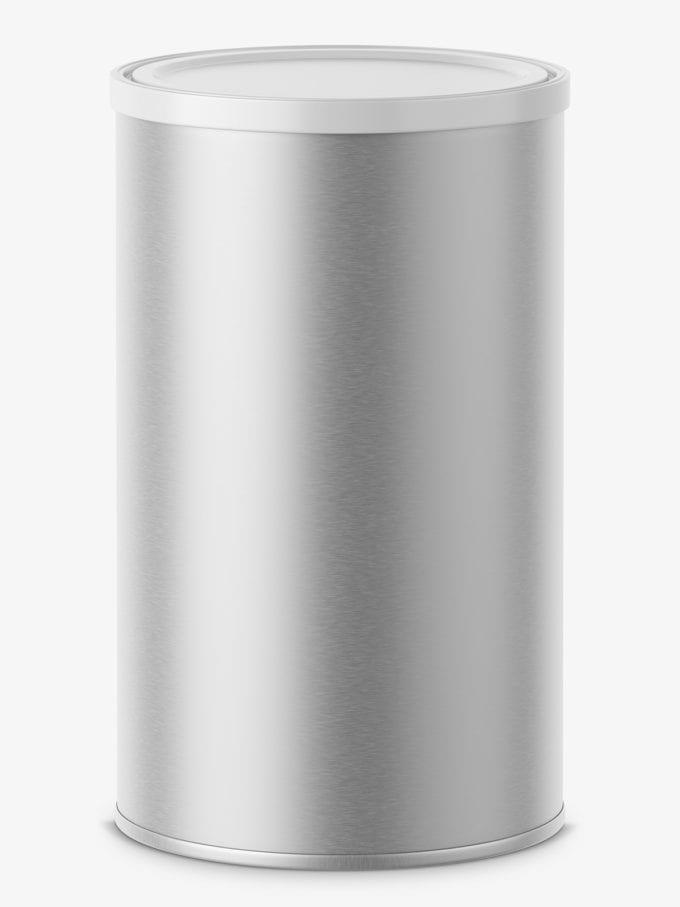 Metallic tin can mockup / top view