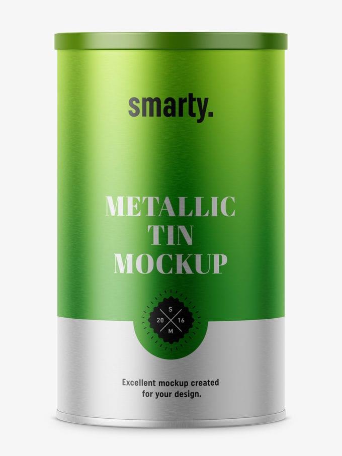 Metalic tin can mockup