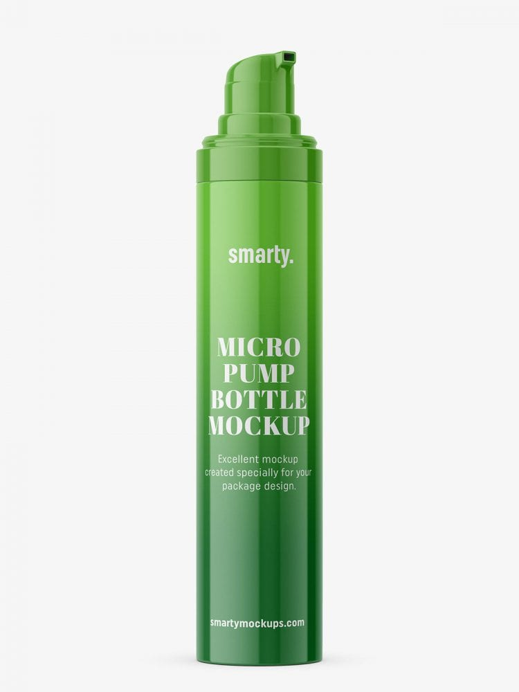 Glossy bottle with micro pump
