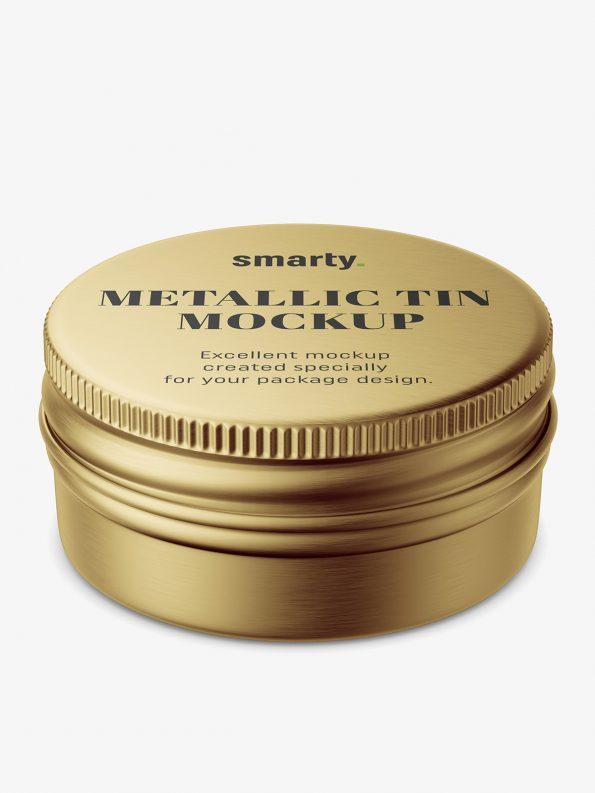 Small metallic tin jar mockup