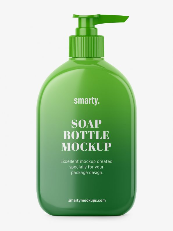 Glossy soap bottle mockup