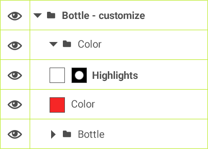 Bott - customize >Color > Highlights > Color > Bottle