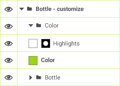 Bottle - customize > Color > Highlights / Color / Bottle