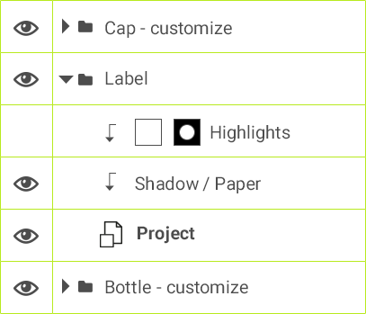 Label > Highlights > Shadow / paper > Project
