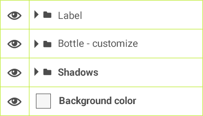 Label > Bottle - customize >Shadows > Background color