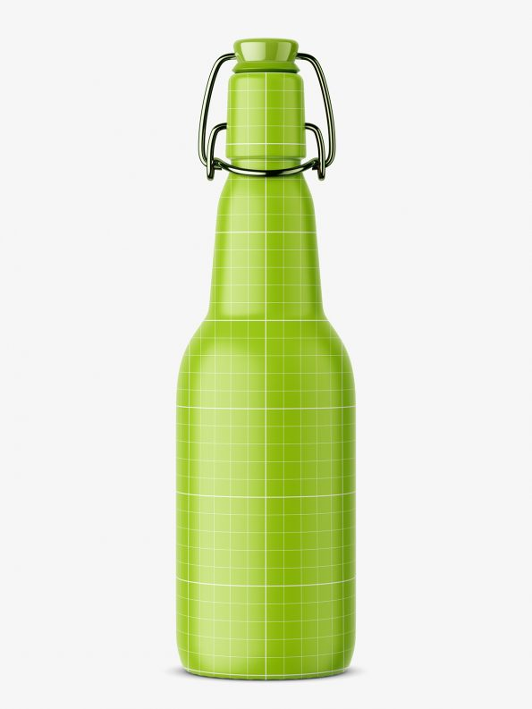 Green bottle with swing top