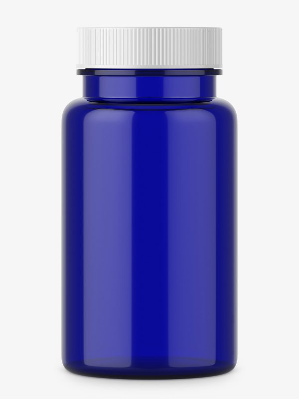 Pharmacy blue jar with plastic cap
