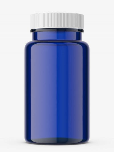 Pharmacy blue jar with plastic cap
