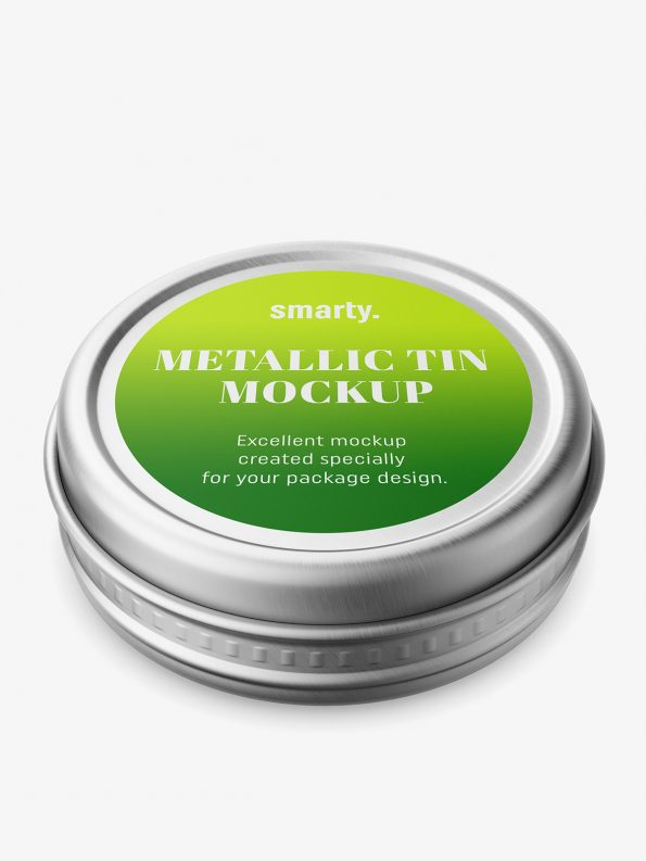 Small metallic tin jar mockup