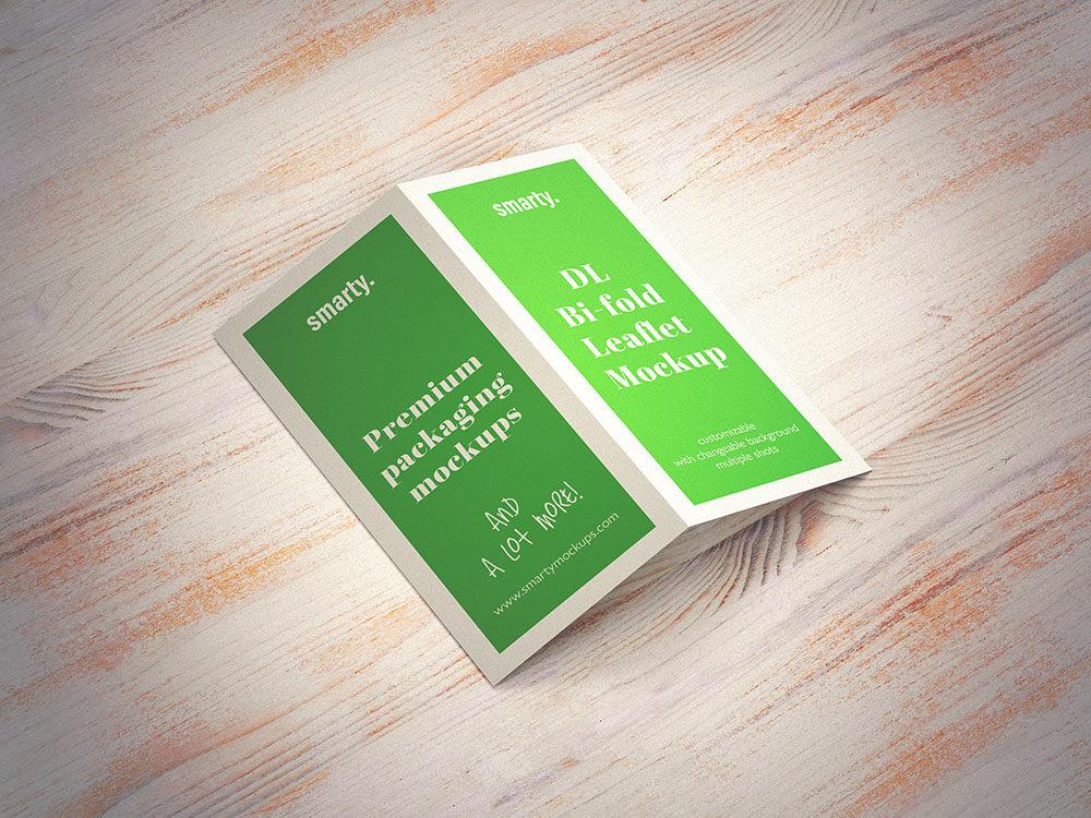 Bi Fold DL Leaflet mockup with effect