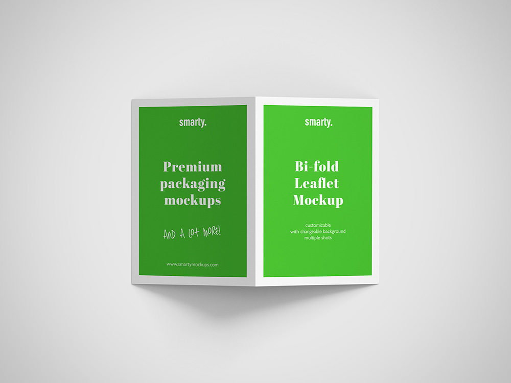 Bi Fold leaflet mockup with color effect