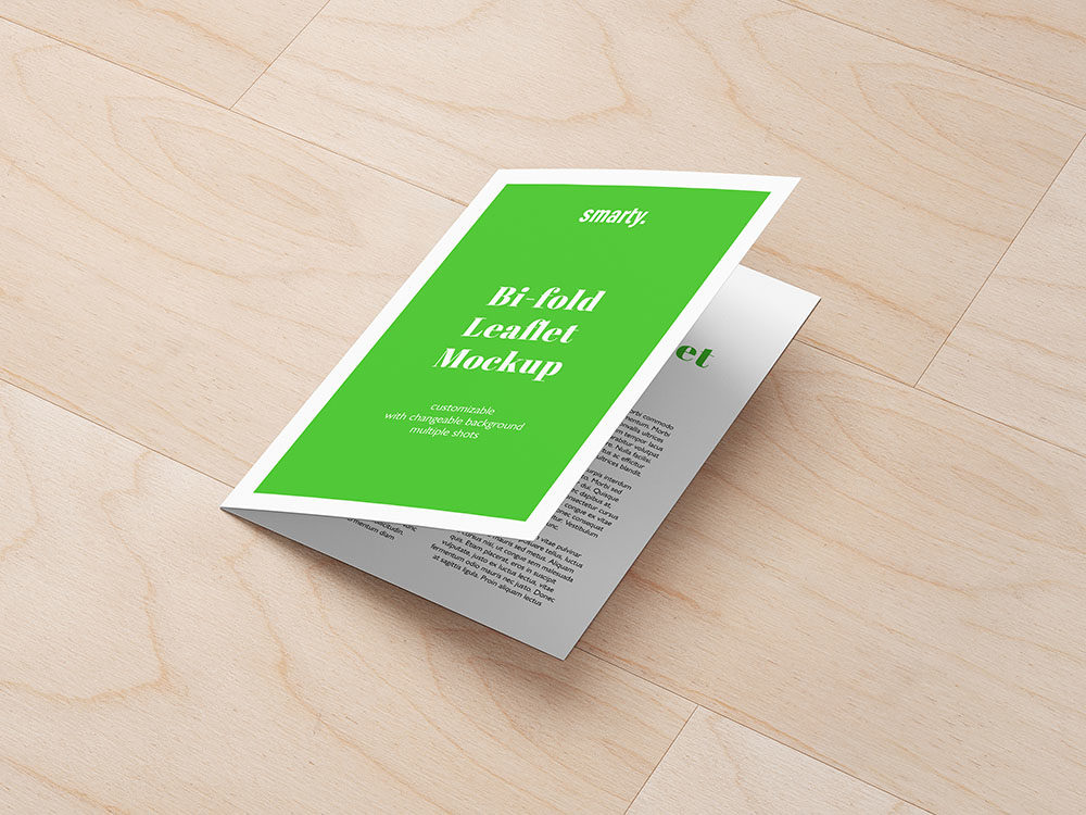Bi Fold leaflet mockup with texture background