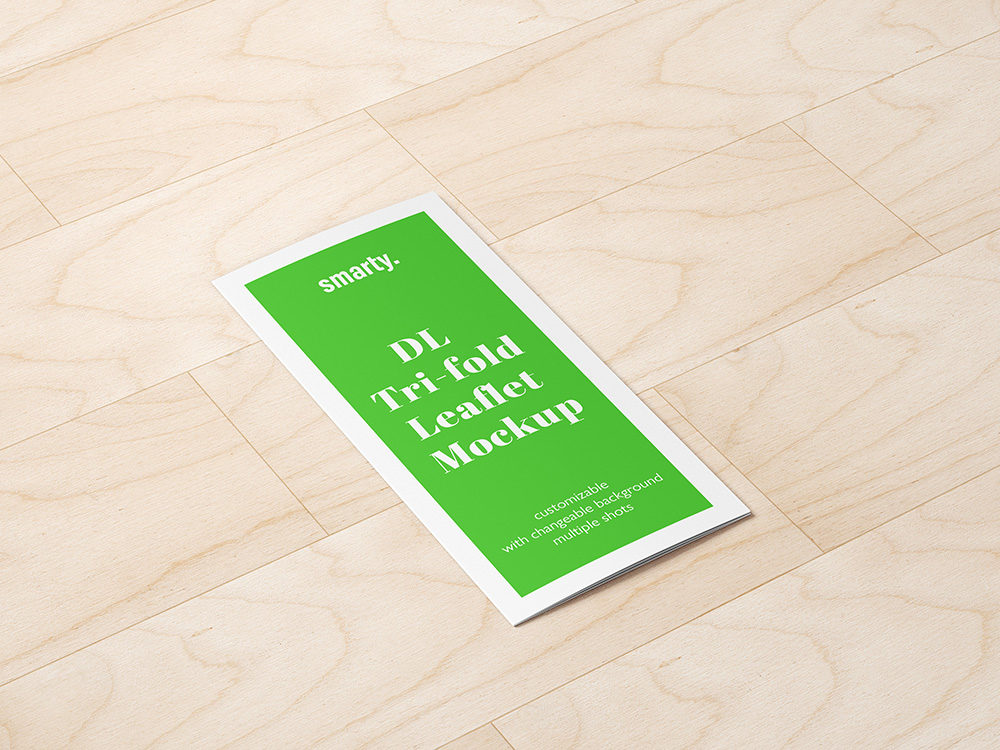 Tri Fold DL Leaflet mockup with texture background