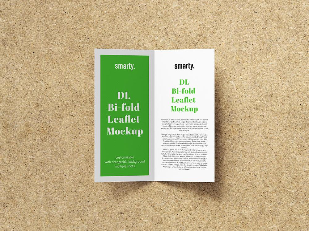 Bi Fold DL Leaflet mockup with texture