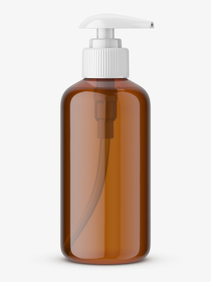 Brown soap bottle with pump mockup