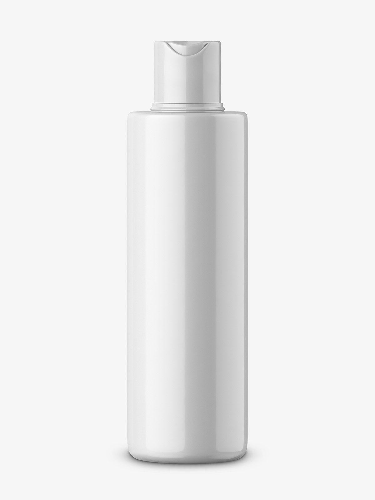 Glossy round bottle mockup