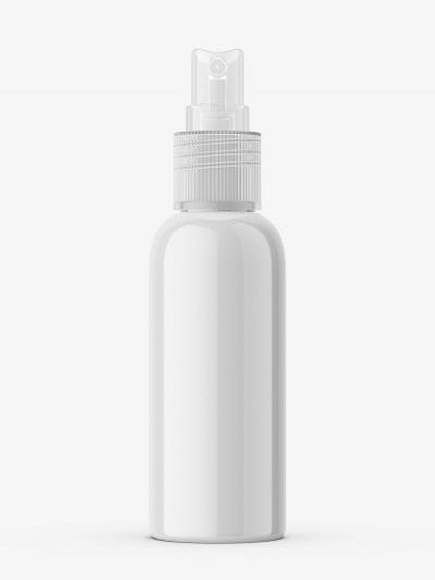 Glossy bottle with transparent atomizer mockup