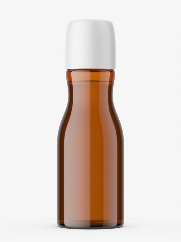 Brown glass cosmetic bottle mockup