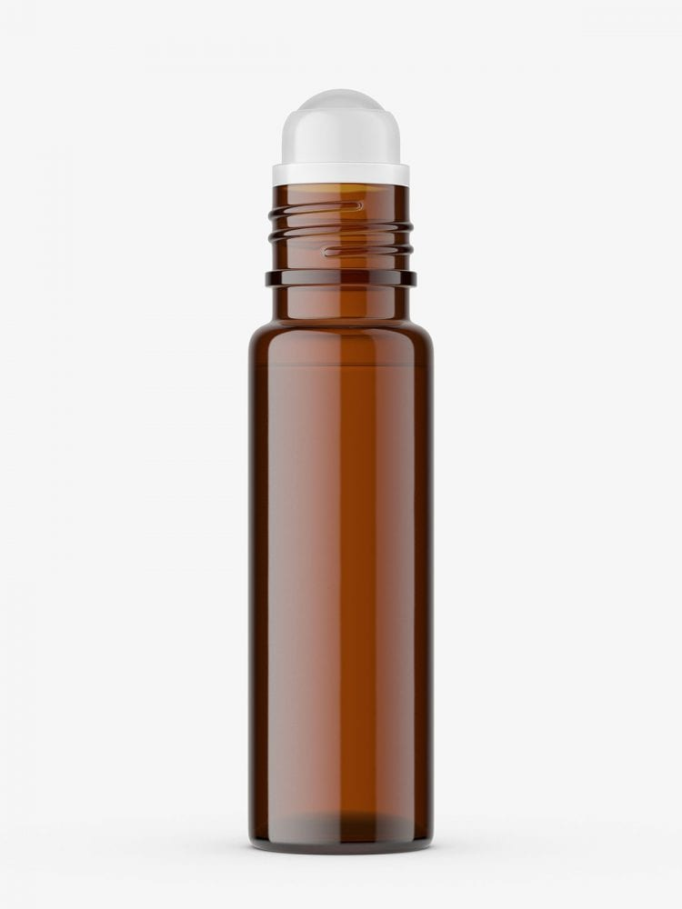 Small roll-on bottle mockup / brown