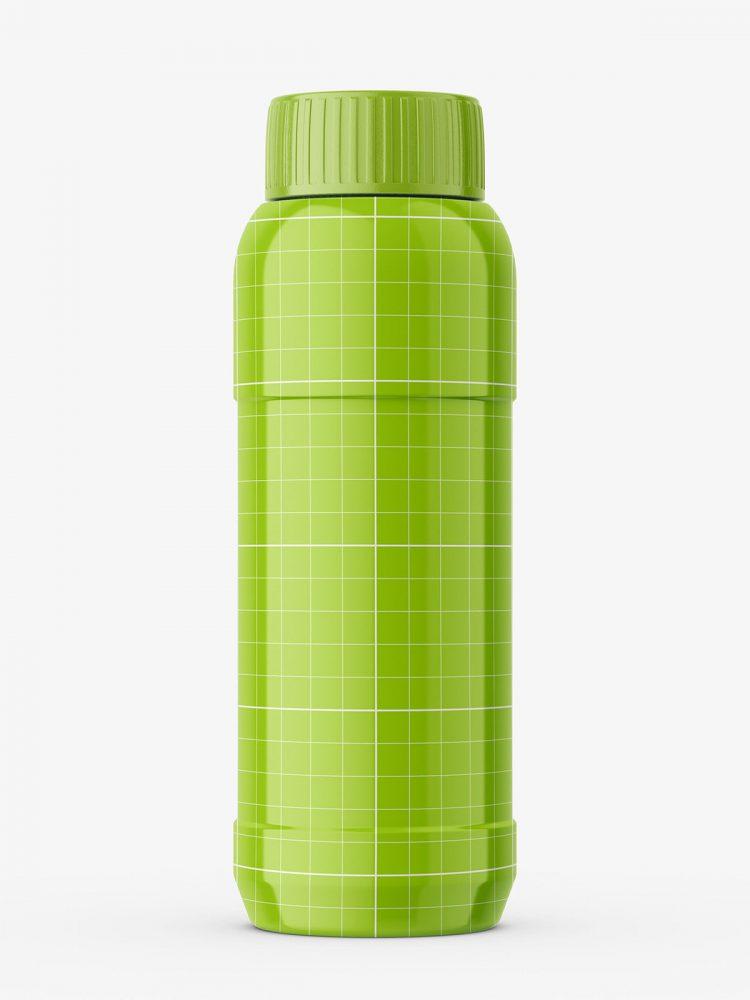 Round glossy plastic bottle mockup